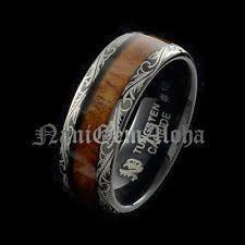 koa wood hawaiian wedding band ring black tungsten scroll design fort fit where to mens jewelry mens gold jewelry mens wedding jewelry