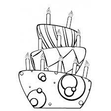 Disegno Di Torta Di Compleanno Da Colorare Per Bambini