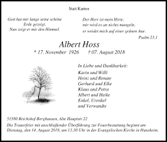 Traueranzeigen von Albert Hoss   WirTrauern