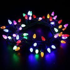 ul listed outdoor led string lights weatherproof strawberry lights 18 feet 50 leds colored christmas light strands c3 bulbs for patio garden holiday indoor
