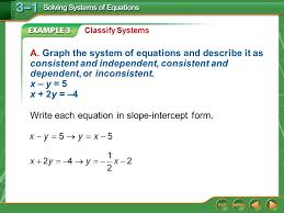 write each equation in slope intercept form 5 classify systems answer the graphs