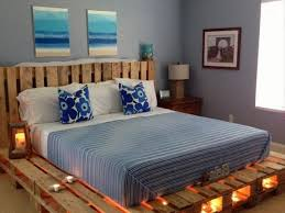 ... Pallet Wooden Bed with Lights ...