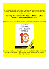 Solving Problems With Design Thinking Ten Stories Of What Works Download_ Epub Solving Problems With Design Thinking
