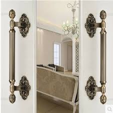 430MM High Quality Vintage door handle antique brass glass wood big