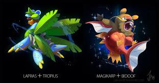 Lapras Evolution Chart Lapras Tropius Bidoof Magikarp Pokemon Fusion Mega
