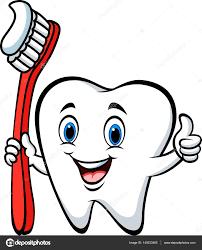 Dent De Dessin Anim Tenant Une Brosse Dents Pouce D Abandonner