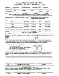 Medical Release Form For Child Enchanting FormsValley View Tennis