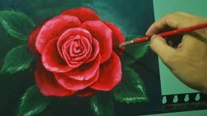 57 34 acrylic painting lesson red rose by jm lisondra