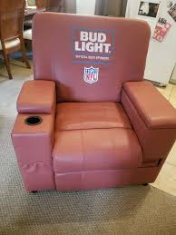the ultimate man cave item budlight recliner chair dispensing cooler and storage