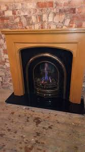 details about living flame coal effect gas fire with oak fireplace surround granite hearth