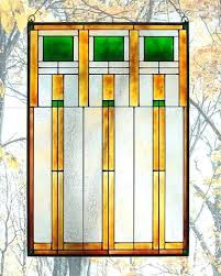 arts and crafts prairie squares art glass panel green large stained panels framed wright