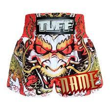 <b>Custom</b> TUFF <b>Muay Thai Boxing</b> Shorts Dragon King in White ...