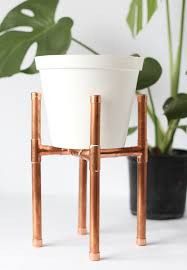 raised copper pipe pot plant stand