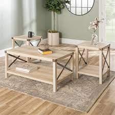 4 piece barn door tv stand coffee table