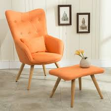 mid century modern armchair. Mid Century Modern Armchair And Footstool Set In Linen Upholstery Living Room Furniture Occasional Accent Chair With Ottoman-in Chairs From