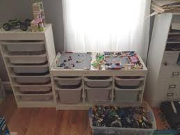 ikea trofast shelves bins for storing legos makeshift table