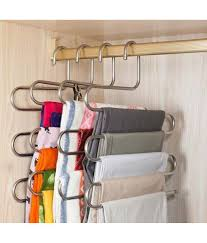 yutiriti 1pc s shape stainless steel 5 layer pant cloth stand hanger cupboard organiser space saving hanger yutiriti 1pc s shape stainless steel 5