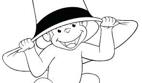 Wearing Hat Curious George Coloring Pages Printable Animals Online