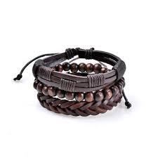 <b>3 pcs</b> men's leather bead <b>braided</b> bracelet multilayer bangle ...