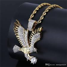 whole hip hop eagle pendant necklace auniquestyle gold color plated copper iced out micro paved cz necklaces men charm jewelry with rope chain silver