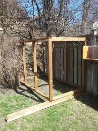 beginning of a wooden outdoor cat jungle gym structure