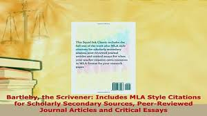 Pdf Bartleby The Scrivener Includes Mla Style Citations For Scholarly Secondary Sources Free Books
