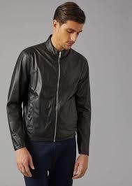 giorgio armani biker jacket in matt nappa leather leather jacket man f
