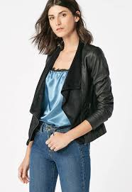 faux leather waterfall jacket in black get great deals at justfab