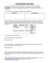 Invertebrate Diversity Worksheet For 6th 12th Grade