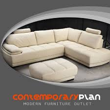 details about modern beige leather sectional sofa and ottoman set contemporary design new