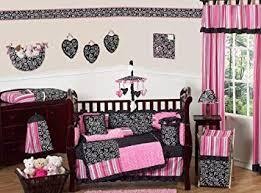 Amazon Com Sweet Jojo Designs 9 Piece Hot Pink And Black Madison