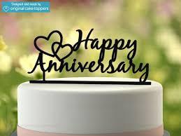 Happy Anniversary Black Wedding Anniversary Cake Topper