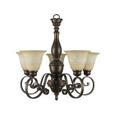 hampton bay carina 5 light aged bronze chandelier with tea stained glass shade