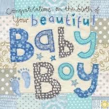 Congratulations On The Birth Of Your Beautiful Baby Boy Card Large