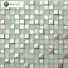 tst crystal glass mosaic tile silver iridescent waterdrops
