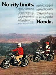 vintage honda motorcycle ads. 1972 honda xl 250cc motorcyle vintage ad no city limits features the sl 125 motorcycle ads