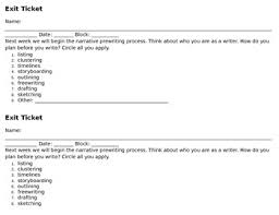 Prewriting Techniques Exit Ticket To Assess Prewriting Preference By Read Write