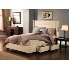 Manhattan Bedroom Furniture Manhattan Wingback Fabric Upholstered Storage Bed In Tan By