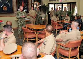 Naval Construction Group (NCG) 2 Command Master Chief Duane Sharp addresses  Mississippi Gulf Coast chief petty officers (CPOs) during a U.S. Navy CPO  120th birthday - PICRYL Public Domain Image