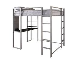 bunk bed with desk. Amazon.com: DHP Abode Full-Size Loft Bed Metal Frame With Desk And Ladder, Silver: Kitchen \u0026 Dining Bunk
