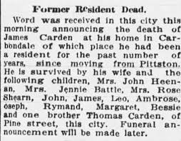 Check spelling or type a new query. Obituary For James Carden Newspapers Com