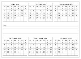 printable 6 month calendar 2019 2019 july to december calendar 2019 calendars calendar 2019