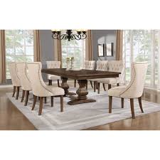 best quality furniture 7 piece walnut extension dining table set