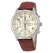 seiko sndc31 men s chronograph beige dial brown genuine leather