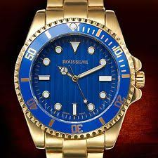 rousseau watches new rousseau 62623528 cantoni mens all gold tone band w blue dial bezel watch