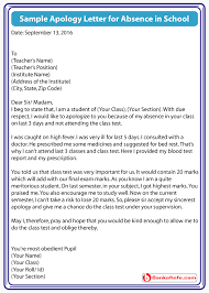 Sample Letter Of Absent From School Sample Apology Letter For Absence In School