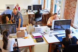 wide angle view busy design office. Wide Angle View Of Busy Design Office With Workers At Desks E