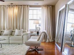 Dazzling Decorating Ideas using Rectangular white Fur Rugs and Cream Loose  Curtains also with Rectangular White Fabric Sofas. Living Room ...