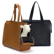 leather tote bag michelle trasportino in pelle colori cuoio e nero con cane