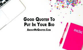 Good Bio Quotes Awesome Good Quotes To Put In Your Bio AboutMeQuotes